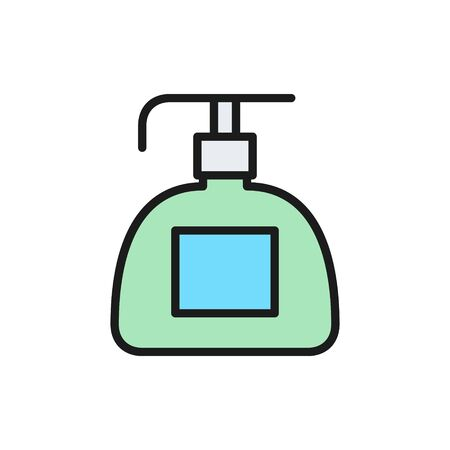 Vector liquid soap dispenser, cosmetic plastic bottle flat color line icon. Symbol and sign illustration design. Isolated on white background