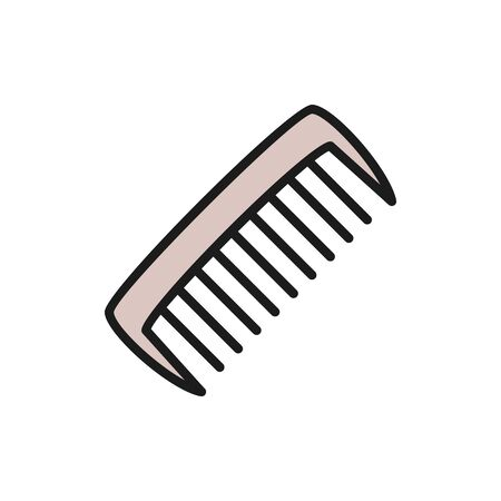 Vector comb, hair brush flat color line icon. Symbol and sign illustration design. Isolated on white background Vektoros illusztráció