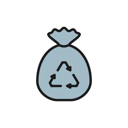 Garbage bag, waste recycling, bagful trash flat color line icon. Vektorgrafik