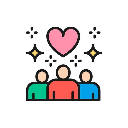 People with heart shape, donations, volunteering, friendly color line icon. Illustration