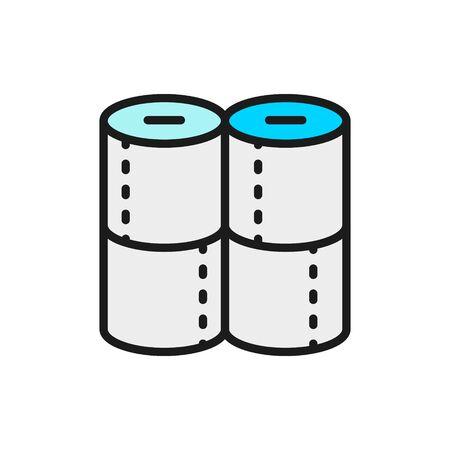 Toilet paper rolls flat color line icon. Illusztráció