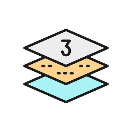 Three-layer napkin paper flat color line icon.