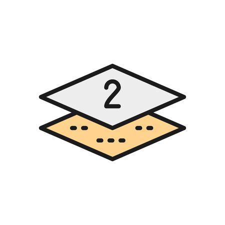 Two-layer napkin paper flat color line icon. Illusztráció