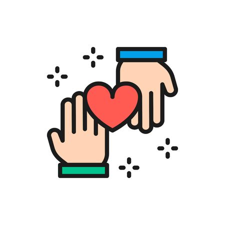 Hands with heart, donation, volunteering, good deeds color line icon.