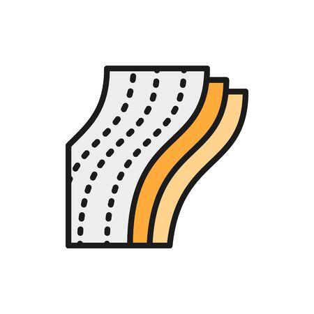 Three-layer toilet paper, napkin flat color line icon.