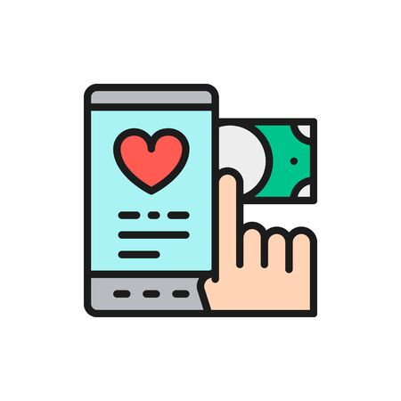 Money transfer to charity, donation, volunteering flat color line icon.