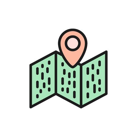 Map with pointer, navigation, location pin flat color line icon.