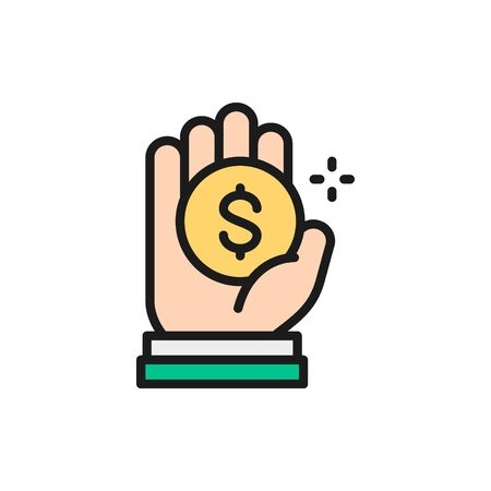 Coin in hand, money donation, charity, volunteering flat color line icon. Illustration