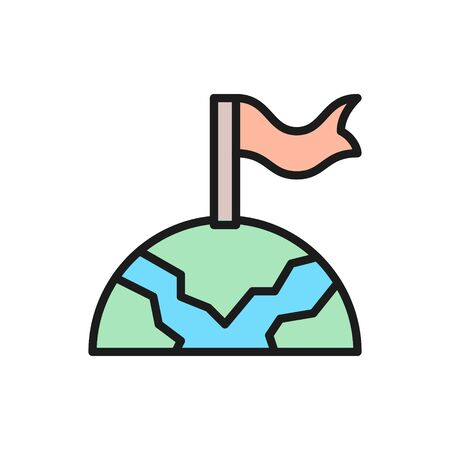 Globe with flag, navigation, earth, finish flat color line icon. Illustration