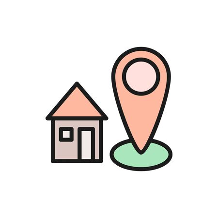 Home address, house with destination mark, geolocation flat color line icon. Illustration