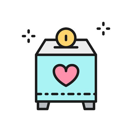 Donate box with money, charity, volunteering flat color line icon.