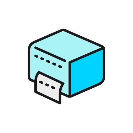 Napkin holder, paper towel dispenser flat color line icon. Illustration