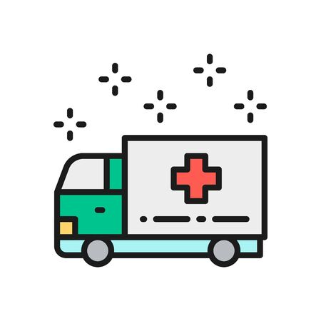 Ambulance car, emergency medical truck, hospital transport color line icon.