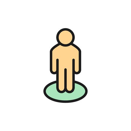 Person location in circle, street view, location pin flat color line icon. Illustration