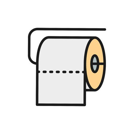 Vector toilet roll flat color line icon. Illustration