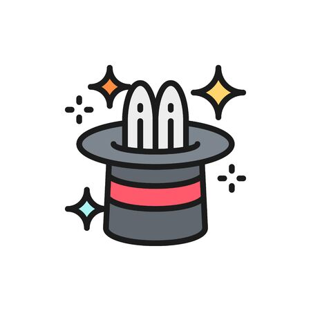 Vector rabbit in magic cylinder hat, circus flat color line icon. Symbol and sign illustration design. Isolated on white background Çizim