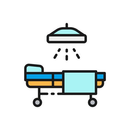 Vector operating table, resuscitation, medicine ward, hospital bed with medical equipments flat color line icon. Symbol and sign illustration design. Isolated on white background