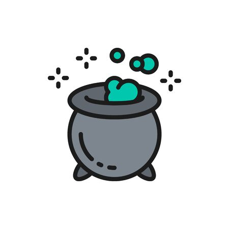 Vector magic potion pot for witches, halloween cauldron flat color line icon. Symbol and sign illustration design. Isolated on white background