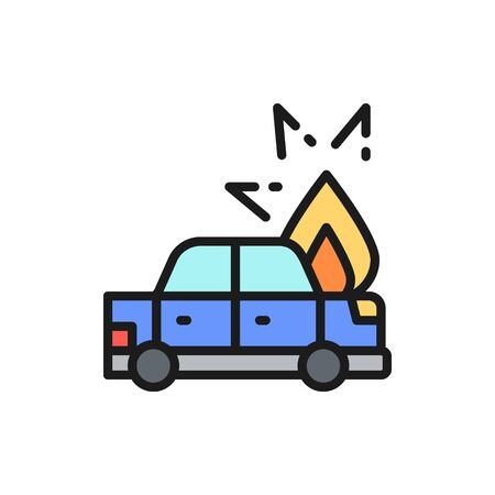 Fire under hood of car, automobile broke down, accident flat color line icon.