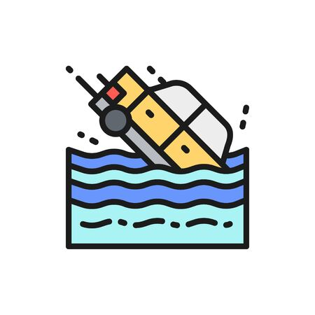 Vector car sinks in water flat color line icon. Symbol and sign illustration design. Isolated on white background