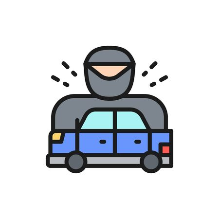 Vector car was stopped by policeman, racing car flat color line icon. Symbol and sign illustration design. Isolated on white background
