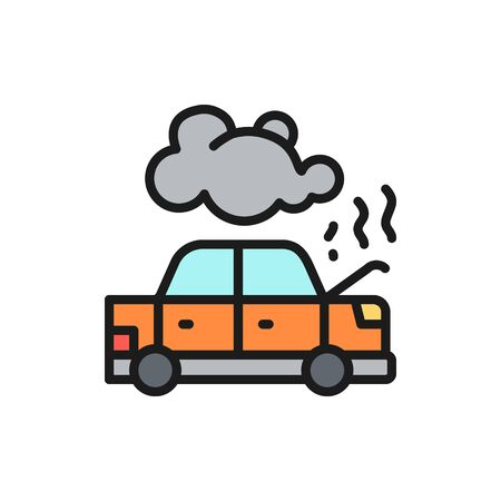 Vector car broke down, automobile smoking under hood, accident flat color line icon. Symbol and sign illustration design. Isolated on white background