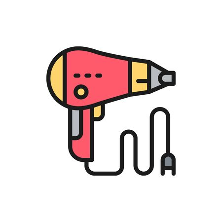 Hair dryer, barber tool flat color line icon.