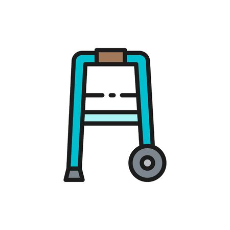 Vector cane, walker, medical device flat color line icon. Symbol and sign illustration design. Isolated on white background