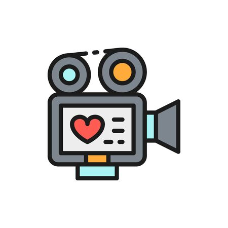 Vector movie camera with film strip, video of love story, wedding recording flat color line icon. Symbol and sign illustration design. Isolated on white background Illustration