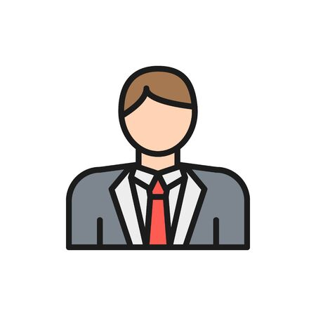 Vector groom, bridegroom, fiance, man in costume flat color line icon. Symbol and sign illustration design. Isolated on white background