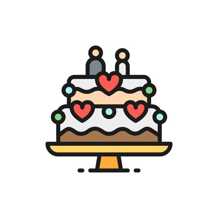 Vector wedding cake with figures of newlyweds flat color line icon. Symbol and sign illustration design. Isolated on white background Illustration