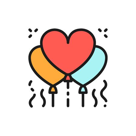 Vector heart shaped balloons, confetti flat color line icon. Symbol and sign illustration design. Isolated on white background Illustration