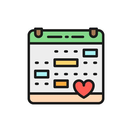 Vector love calendar, wedding date, valentines day flat color line icon. Symbol and sign illustration design. Isolated on white background