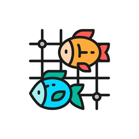 Vector fish in fishing nets flat color line icon. Symbol and sign illustration design. Isolated on white background