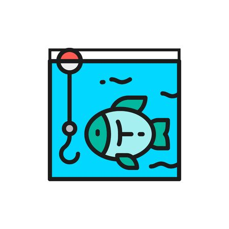 Vector fishing, hook with fish underwater flat color line icon. Symbol and sign illustration design. Isolated on white background