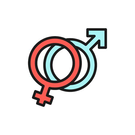 Vector female and male symbols, man and woman sign, gender flat color line icon. Symbol and sign illustration design. Isolated on white background Illustration