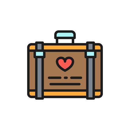 Vector wedding luggage, suitcase for honeymoon flat color line icon. Symbol and sign illustration design. Isolated on white background