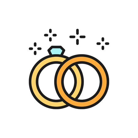 Vector wedding rings flat color line icon. Symbol and sign illustration design. Isolated on white background