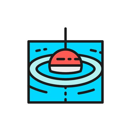 Vector fishing float flat color line icon. Symbol and sign illustration design. Isolated on white background Illustration