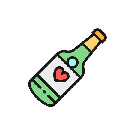 Vector Champagne bottle, wedding drink flat color line icon. Symbol and sign illustration design. Isolated on white background