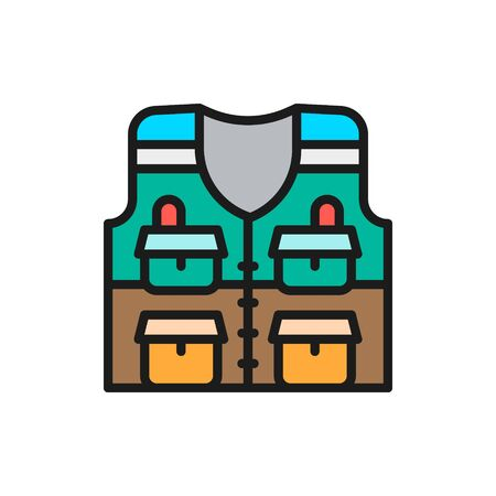 Vector vest with pockets, fishing jacket flat color line icon. Symbol and sign illustration design. Isolated on white background Illustration