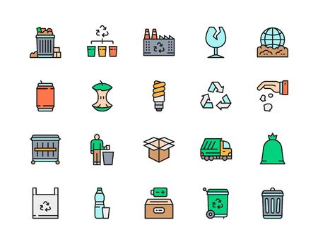 Set of Garbage Flat Color Line Icons. Waste Factory, Beer Can, Broken Glass, Apple Core, Trash Can, Dumpster, Cardboard Box, Garbage Truck and more.