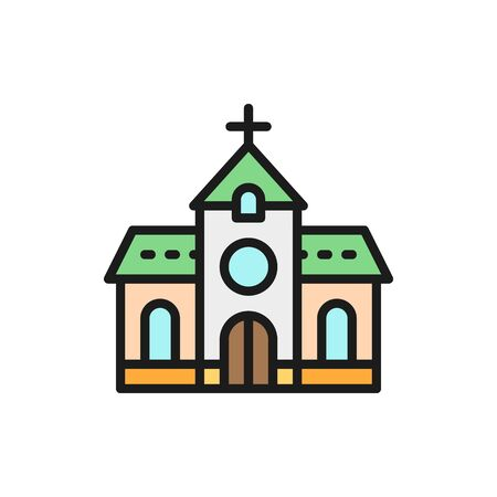 Vector church, chapel, temple flat color line icon. Symbol and sign illustration design. Isolated on white background