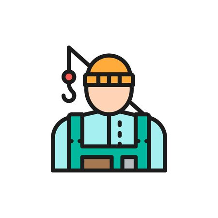 Vector fisherman with fishing rod flat color line icon. Symbol and sign illustration design. Isolated on white background