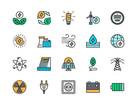 Set of Energy Industry Flat Color Line Icons. Power Plant, Energy Saving Lamp, Wind Turbine, Water Dam, Solar Station, High Voltage Line, Electric Plug, Power Socket, Battery and more.
