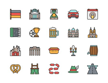 Set of German Culture Flat Color Icons. Highway, Oktoberfest, Accordion and more Illustration