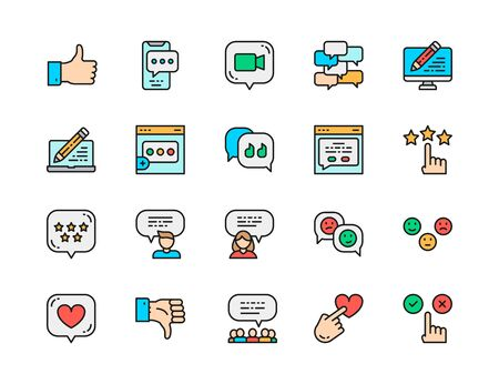 Set of Feedback Flat Color Line Icons. Chat, Message, Dislike, Like and more.