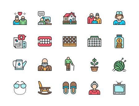 Set of Nursing Home Flat Color Line Icons. Pensioner, Hospital, Seniors and more
