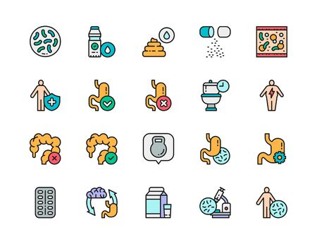 Set of Probiotic Color Line Icons. Lactobacilli, Intestines, Vitamins and more.