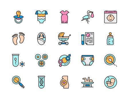 Set of Pregnancy Flat Color Line Icons. Newborn, Dna Tests, Embryos and more. Illustration